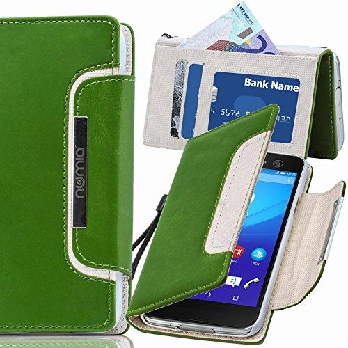 numia Sony Xperia E3 Hülle, Handyhülle Handy Schutzhülle [Book-Style Handytasche mit Standfunktion & Kartenfach] Pu Leder Tasche für Sony Xperia E3 Hülle Cover [Grün-Weiss]