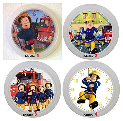 ✿ Kinderwanduhr in 4 Farben ✿ Feuerwehrmann Feuerwehr Sam ✿ Wanduhr ✿ KEIN TICKEN ✿ mit/ohne Name