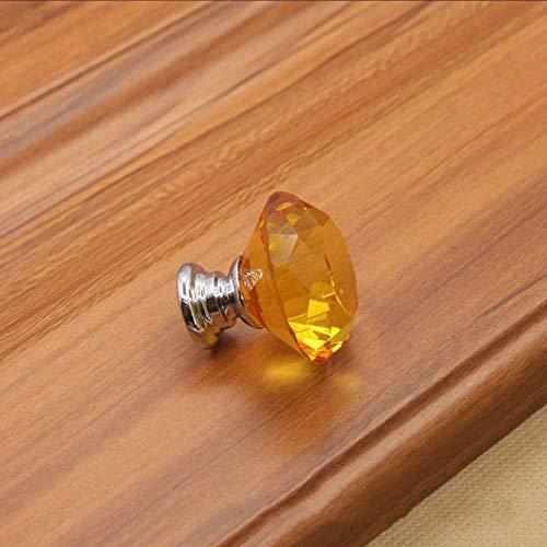 30 mm ronde doorzichtige kristallen glazen deurknoppen met keukenkastlade Meubelschroeven Handvat Glazen diamantladehandvat 1 stuks, geel, Russische Federatie