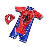 DIDILA Kids one-Piece Swimsuit, Captain America, Spider-Man, Quick-Drying, Sunscreen, Boy, Infant, Swimwear Spiderman Medium(Fit 3-4T)