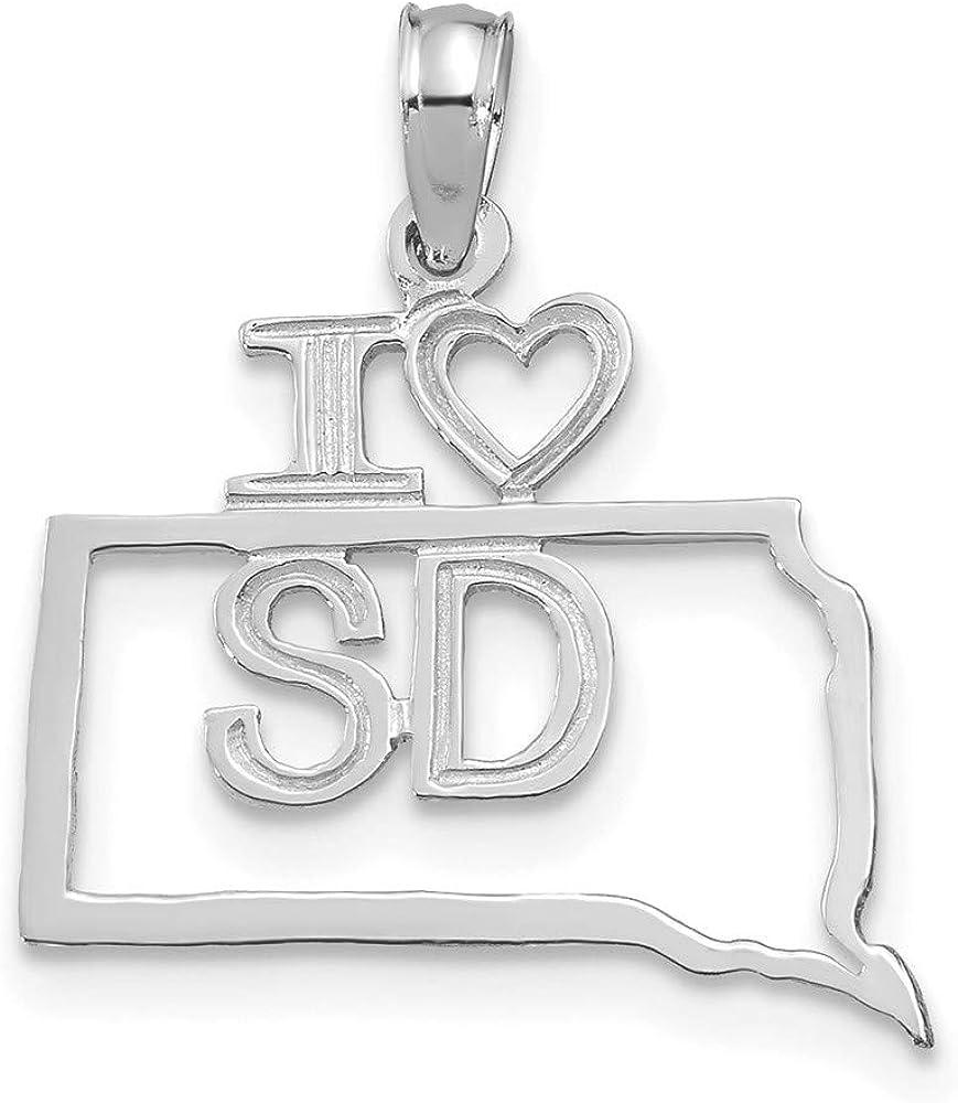14k Max 48% OFF Genuine White Gold Solid Dakota State Pendant South