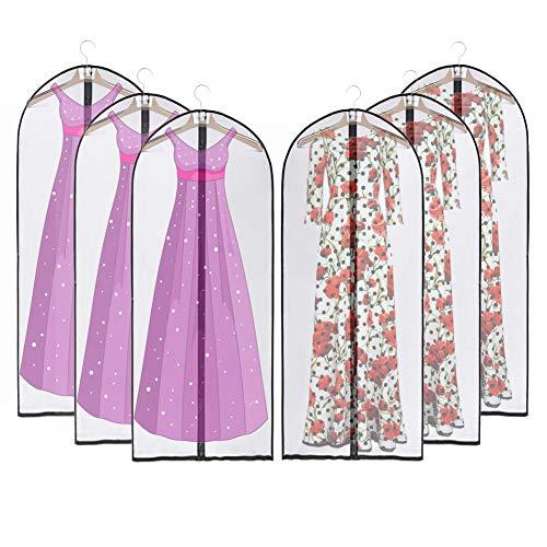 Kleidersäcke mit Reißverschluss, JSF 6 Stück X Atmungsaktive Kleiderhülle- 137cm- Durchscheinend- für Lange Kleider, Smoking Anzüge und Mäntel