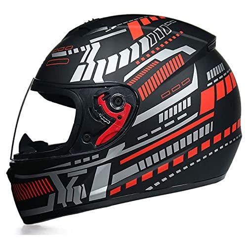 JLLXXG Casco Integral de Motocicleta Modular, para Hombres y Mujeres Adultos con Visera Casco de Locomotora de Motocicleta de Cara Completa abatible antivaho