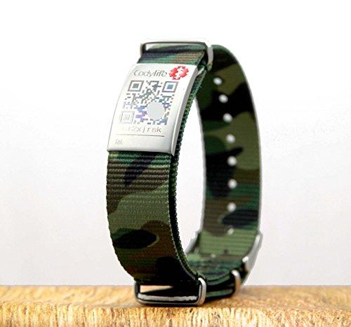 Codylife Braccialetto antismarrimento Camo, verde, in nylon, fibbia in metallo con codice QR