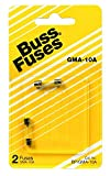 Bussmann BP/GMA-10A 10 Amp Glass Fast Acting Cartridge Fuse 125V Ul Listed, Carded (2 Pack)
