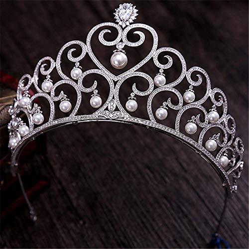 SUIWO Princess Crown Gems Rhinestone Tiara Kid Girl Prom Birthday Prinecess Party Vintage Bride Wedding Headdress Zircon Pearl Crown Wedding Dress Accessories (Color : Silver)