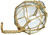 Hampton Nautical  Clear Japanese Glass Ball Fishing Float with Brown Netting Decoration 6'