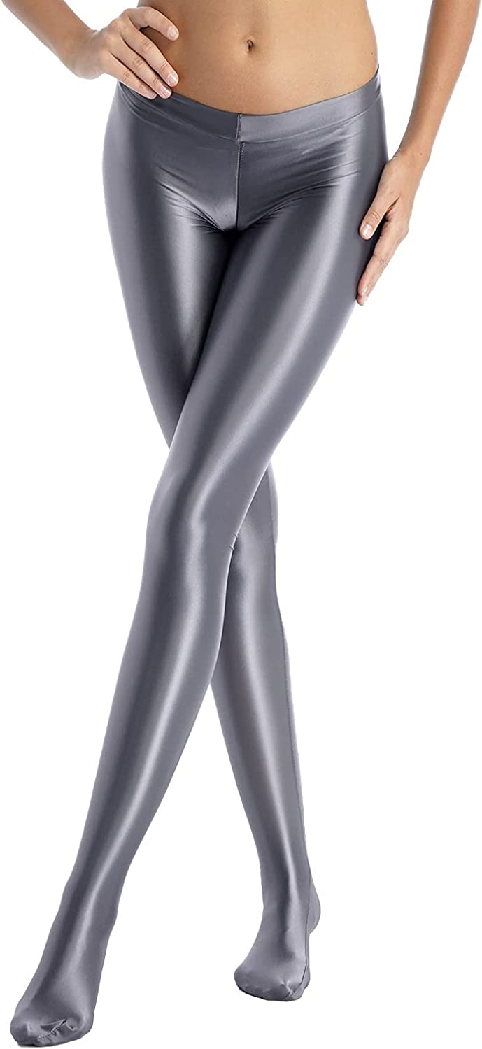 YiZYiF Womans Shiny Oil Glossy Footed Pantyhose Zip Tights Leggings Hold Up Stockings Hosiery
