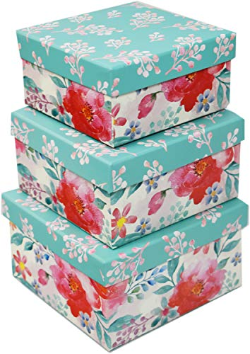 ALEF Set of 3 Teal Decorative Floral Boxes - Nesting Boxes for Gifts and Decoration! Beautiful Watercolor Painted Designs - Largest Box Measures 6'x6'x3.125' (Teal Design, 3)