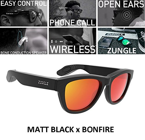 Black Zungle Bluetooth Headphones Sunglasses With Built In Bone Conduction Speakers (Matt Black x Bonfire)