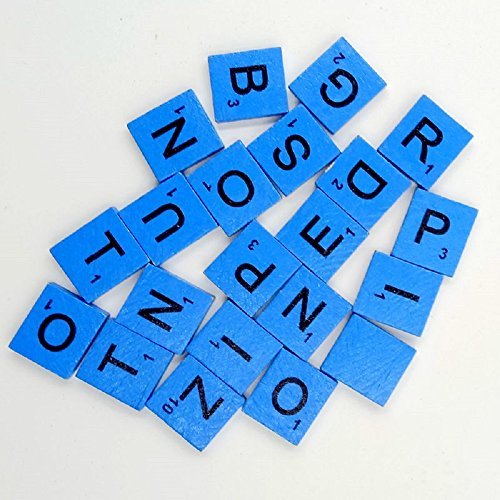 200pcs English Wood Letters A-Z Kids Learning Cognition Education Toy Games Scrabble Tiles Wood Craft Letters Word Tiles Wooden Letters Replacement Tiles Square Letter for Scrapbooking (Blue) (Two And Three Letter Scrabble Words With Z)