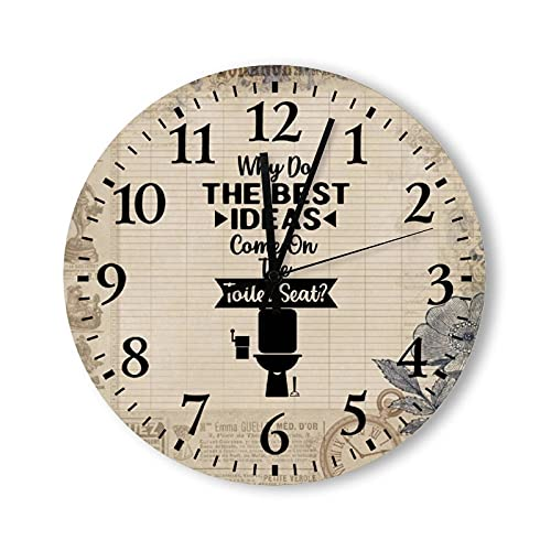 Vintage Wooden Wall Clock 12 Inch, Do The Best Ideas Come on Toilet Seat, Arabic Numeral Round Battery Operated Mother's Day Father's Day Present