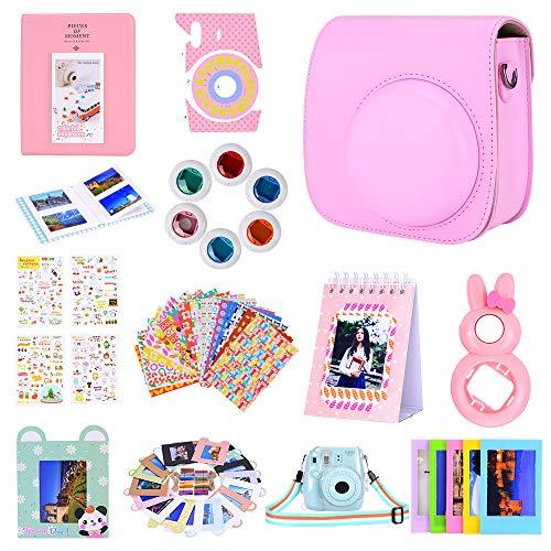 Bsuuy Instax Mini 9 Camera Accessories Set per Fujifilm Instax Mini 9 / Mini 8 / Mini 8+ Fotocamera,Include Mini 9 Custodia/Album/Sei filtri colorati/Selfie Lens (12 in 1 Rosa)