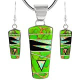 925 Sterling Silver Matching Pendant & Earrings Set with Genuine Turquoise & Gemstones 20' Necklace (Green Turquoise)