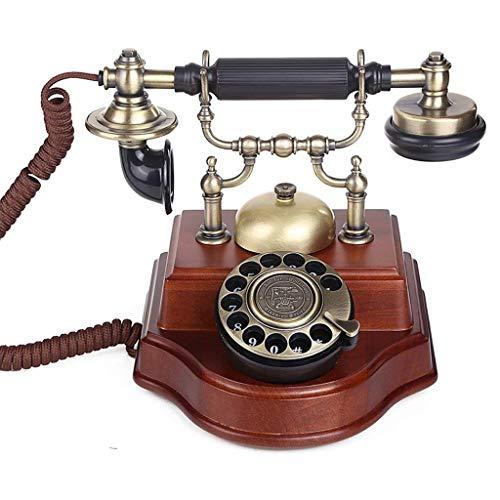 DFBGL Teléfono Vintage/teléfono Retro con Cuerpo de Madera y Metal, dial Funcional y Mesa de Escritorio clásica Oficina en casa Cable en Espiral Auricular/marcación por botón
