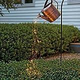 Wowlela Regadera de hierro para exteriores, luz solar, ducha de estrellas, decoración de luz de jardín, lámpara de agua de vertido estrellado, cadena de luces de hadas LED para jardín al aire libre