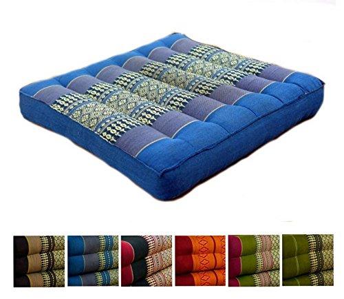 livasia Kapok Sitzkissen 35x35x6,5cm der Marke, optimal als Stuhlauflage oder Meditationskissen, Bodenkissen BZW. Stuhlkissen (hellblau)