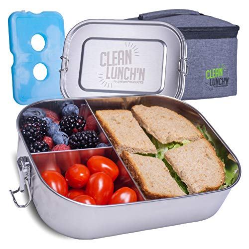 Clean Lunch'N Stainless Steel Lunch Box and Bag - Large Metal Bento Container with 3 Divided Food Compartments and Leak Proof Lid For Adults or Kids Meal Prep Storage
