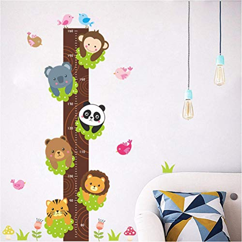 Panda animals stack height measure wall stickers decal kids wallpaper mural baby girl boy room nursery decor 63cmx95cm