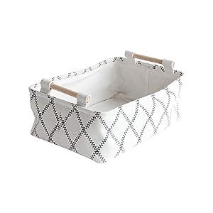 LUFOFOX Decorative Collapsible Rectangular Fabric Storage Bin Organizer Basket with Wooden Handles for Clothes Storage,12.6x8.7x4.7 inch,White