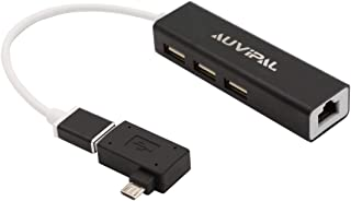 AuviPal Ethernet Adapter with 3 Ports USB Hub and Powered OTG Adapter for FireStick, Chromecast Ultra /2/1 /Audio, Google ...