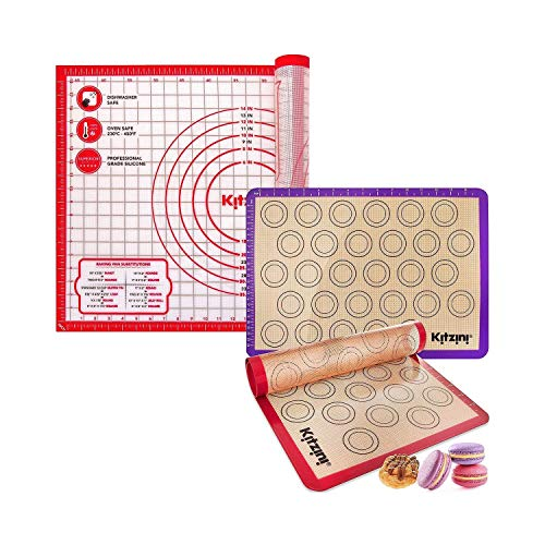 Kitzini X Large Pastry Mat Silicone Non Slip with Two Macaron Silicone Baking Mats