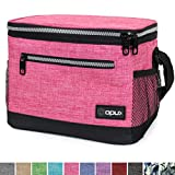 OPUX Premium Lunch Box, Insulated Lunch Bag for Women Adult | Durable School Lunch Pail for Girls, Kids | Soft Leakproof Medium Lunch Cooler Tote for Work Office | Fits 8 Cans (Heather Pink)