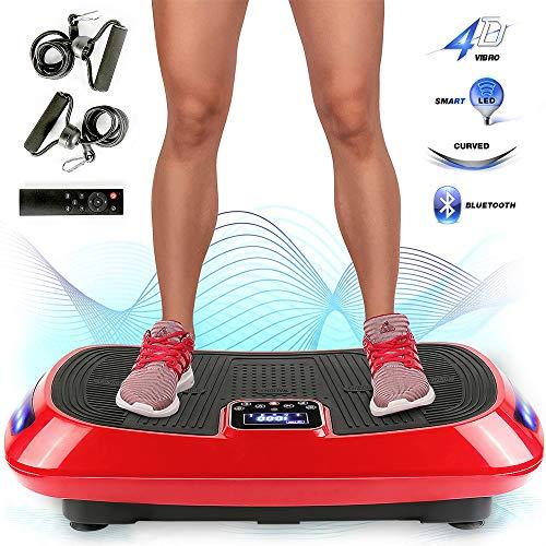 MUPAI Vibrations- und Oszillationsplattform, 4-D-Motor mit dreifacher Vibrationsplatte, Bluetooth + Farbwechselband in 3 Farben + Spannschnur, Fitness und Ganzkörper, 78x45x14,5 cm (Schwarz+Rot)