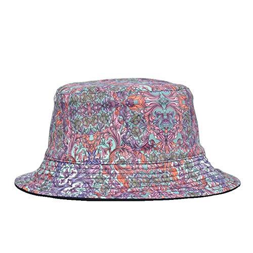 HWY Chapeau de pêcheur Respirant Chapeau de pêcheur réversible Pliable pour l'extérieur, Voyage (Motif de Fleurs)