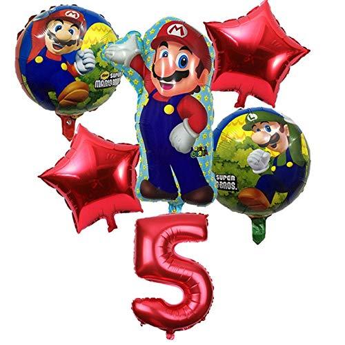 BAYUE Globos 6 Unids / Lote Super Mario Bros Globos Fiesta de Cumpleaños Luigi Mario Bros Globo de Helio 32 Pulgadas número Globo Decoración Supplie ( Color : Burgundy )