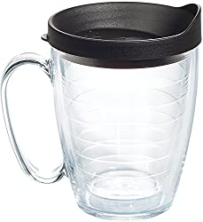 in budget affordable Tervis Clear  Color Insulated Glass, Black Lid on Cup, Tritan 16 oz, Transparent