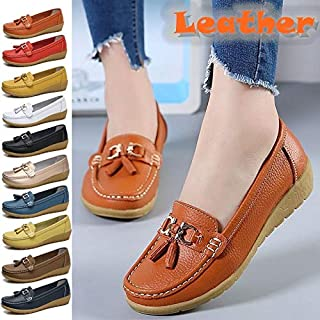 Spring Women Genuine Leather Flat Shoes Flat Comfortable Casual Loafers Ballet Shoes(Size:US 4.5-11; EU 35-44)(Orange,11)