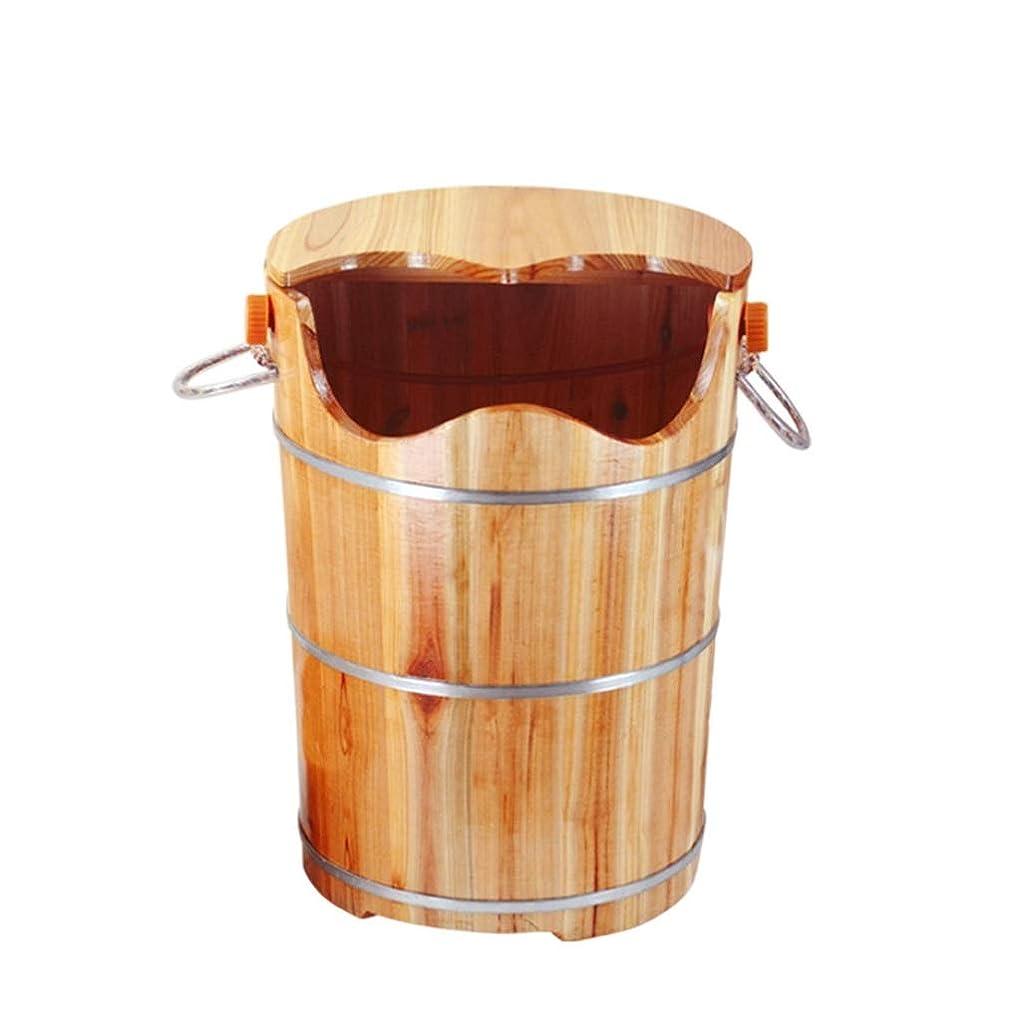 見出し誘うピザNUBAOgy 家庭用浴槽、足浴槽、木製足湯、ペディキュアベイスン、純木製フット浴槽、マッサージペディキュアバケット、ふたを高くして、50 * 40 * 28 cm (色 : A)
