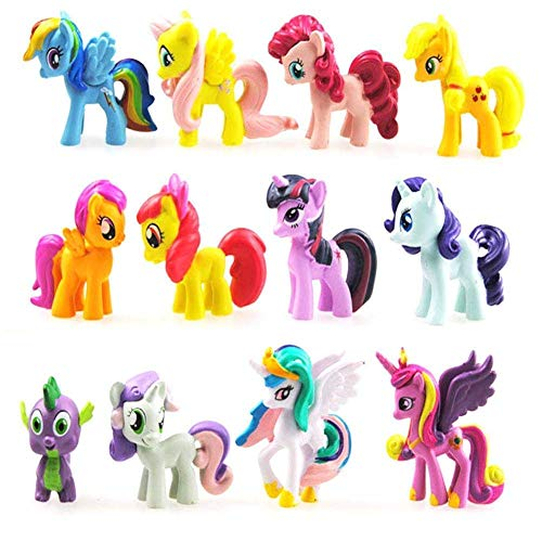 Funnyshow - Figura de My Little Pony, My Little Pony, figuras de PVC, juguetes de fiesta de cumpleaños (12 piezas)