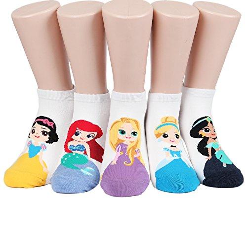 Socksense Animation Character Disney Series Women's Original Socks (Princess_5pairs), One Size