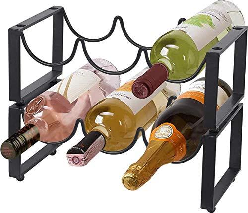 Mazu Homee Botellero de metal de 2 capas, estante independiente para botellas de vino apilables, capacidad para 6 botellas de vino, color negro