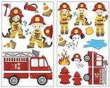 Samunshi® 20x Wandsticker Feuerwehr Wandtattoo Kinderzimmer Mädchen Jungen Kinder Wandtattoo Babyzimmer Deko Junge Wall Stickers 2X 21x34cm