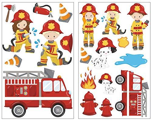 Samunshi® 20-teiliges Feuerwehr im Einsatz Wandtattoo Set Kinderzimmer Babyzimmer in 5 Größen (2x27x43cm Mehrfarbig)
