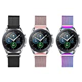 LAXMR Mesh Band Compatible with Galaxy Watch 3 45mm/Gear S3/Galaxy Watch 46mm Women Men, 3 Pack 22mm Breathable Stainless Steel Wristband for Gear S3 Frontier/Classic Watch (Black/Rose Pink/Colorful)