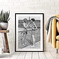 テニスポスターキャンバスアートプリント女性喫煙ヴィンテージ写真絵画白黒写真ホームガールズルーム壁アート装飾60x80cmフレームレス