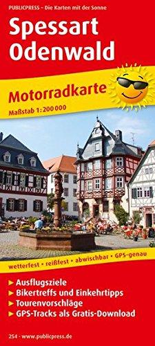 Spessart - Odenwald: Motorradkarte mit GPS-Tracks zum kostenlosen Download, Ausflugszielen, Bikertreffs, Einkehrtipps und Tourenvorschlägen, ... GPS-genau. 1:200000 (Motorradkarte / MK)