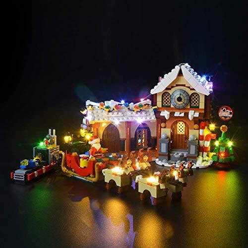 HLEZ Conjunto de Luces Lluminación para Taller de Santa Modelo de Bloques de Construcción, Kit de luz LED Compatible con Lego 10245 (Modelo Lego no Incluido)