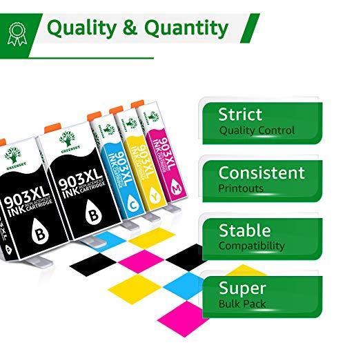 Chip de Actualización Más Nuevo GREENSKY Reemplazo para HP 903 903XL Cartuchos de Tinta, para HP OfficeJet 6950, HP OfficeJet Pro 6960,6970 Impresor (2 Negro, 1 Cian, 1 Magenta, 1 Amarillo)