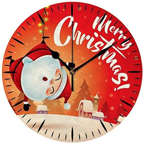 AZHOULIULIU Co.,ltd Reloj de Pared silencioso Redondo de Mesa Feliz Navidad Papá Noel Escena de Nieve de Navidad Decoración Creativa roja Silencio de Oficina en casa