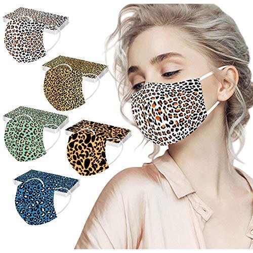 SALUCIA 50 Stück Einmal-Mundschutz, Staubs-chutz Atmungsaktive Leopard Drucken Mundbedeckung, Erwachsene, Bandana Face-Mouth Cover Winter