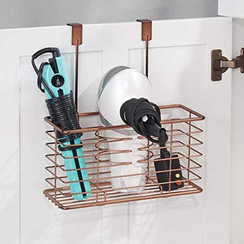 mDesign porte sèche-cheveux sans perçage – panier pour sèche-cheveux en métal grillagé s'accrochant sur une porte – module de rangement multifonction pour fer à boucler et lisseur – couleur bronze