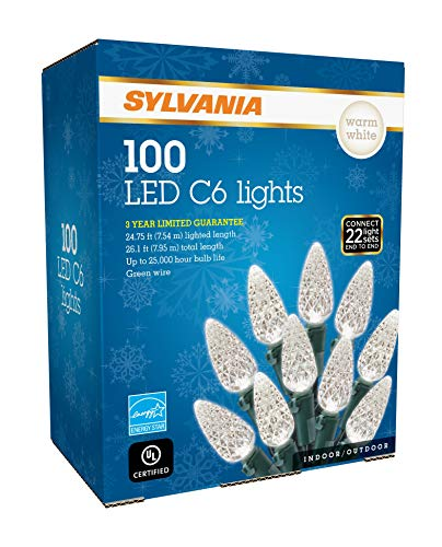 SYLVANIA LED C6 Christmas Lights, Warm White