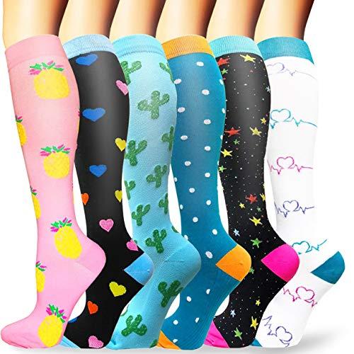 Sooverki Calcetines de compresión para Mujeres y Hombres 20-25 mmHg es el Mejor Graduado atlético, Correr, Volar, Viajar, Enfermeras 01-Multicolor-6 Pares L/XL