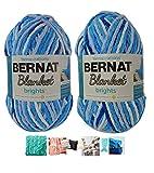 Big Ball Blanket Yarn 2-Pack Bundle by Bernat Plus 6 Blanket Yarn Patterns Super Bulky #6 10.5 Ounce Ball 220 Yards (Waterslide Varg)