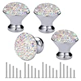 OTOSTAR 4 Pieces Cabinet Knobs Drawer Pull Handles, Bling Crystal Dresser Cupboard Bookcase Drawer Kitchen Wardrobe Door Knobs Handle with 5 Size Screws for Home Kitchen Bathroom Office (AB)